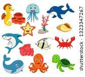 sea animals cartoon set | Shutterstock . vector #1323347267