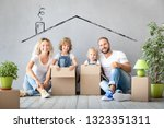 happy family with two kids... | Shutterstock . vector #1323351311