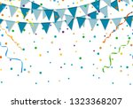 blue party flags with colorful... | Shutterstock .eps vector #1323368207