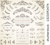 vector set of ornate... | Shutterstock .eps vector #1323392474