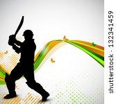 silhouette of a cricket batsman ... | Shutterstock .eps vector #132341459