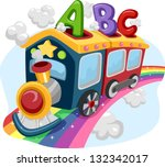 illustration of a train on a... | Shutterstock .eps vector #132342017