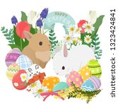 happy easter icons set with... | Shutterstock .eps vector #1323424841