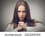 portrait of a woman determined | Shutterstock . vector #132344354