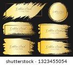 set of brush stroke frame  gold ... | Shutterstock .eps vector #1323455054