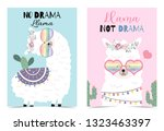 blue pink hand drawn cute card... | Shutterstock .eps vector #1323463397