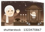 a happy muslim family and their ...   Shutterstock .eps vector #1323470867