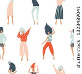 funny dancing girls seamless... | Shutterstock .eps vector #1323489041
