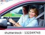 happy senior couple in the car. ... | Shutterstock . vector #132349745