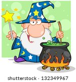 wizard waving with magic wand... | Shutterstock .eps vector #132349967