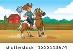 cowgirl riding horse at the...   Shutterstock .eps vector #1323513674