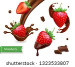 strawberry in chocolate... | Shutterstock .eps vector #1323533807