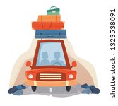 people in travel car with... | Shutterstock .eps vector #1323538091