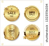 golden retro sale badges and... | Shutterstock .eps vector #1323556334