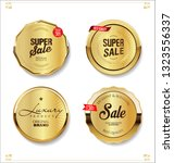 golden retro sale badges and... | Shutterstock .eps vector #1323556337
