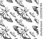 hawk moth seamless pattern... | Shutterstock .eps vector #1323556784