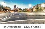 streets of barcelona at night ...   Shutterstock . vector #1323572567
