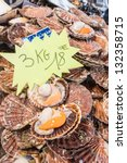 Small photo of Raw queen scallops (lat. Aequipecten opercularis) in the fish market of Trouville, France