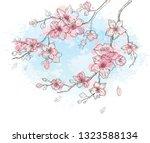 cherry blossom  watercolor... | Shutterstock .eps vector #1323588134