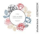 roses wreath design. wedding... | Shutterstock .eps vector #1323602234