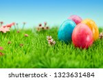 four colorful easter eggs for... | Shutterstock . vector #1323631484