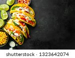 tasty appetizing tacos with... | Shutterstock . vector #1323642074