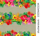 seamless pattern with tropical... | Shutterstock . vector #1323642134