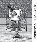 goalie hockey sport jokes   Shutterstock .eps vector #1323650201