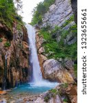 Small photo of Majestic waterfall in the tscheppa flume. Karawanks Austria - Image