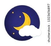 mystical night sky with half... | Shutterstock .eps vector #1323656897