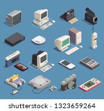 Different retro gadgets isometric icons set with computer player recorder console phone camera 3d isolated vector illustration