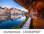kapellbrucke historic wooden... | Shutterstock . vector #1323669407