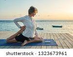 attractive senior female... | Shutterstock . vector #1323673961