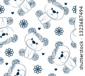 seamless pattern with teddy... | Shutterstock .eps vector #1323687494