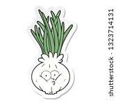 sticker of a cartoon onion | Shutterstock .eps vector #1323714131
