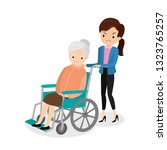 unhappy old woman in a... | Shutterstock .eps vector #1323765257