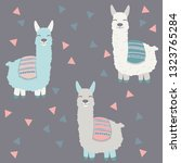 vector alpaca pattern for kids. ... | Shutterstock .eps vector #1323765284