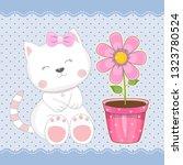 beautiful girl kitten with... | Shutterstock .eps vector #1323780524