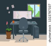 freelancer programmer workplace ... | Shutterstock .eps vector #1323787337