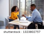 woman meeting with male... | Shutterstock . vector #1323802757