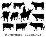 bulls and cows silhouettes   Shutterstock .eps vector #132381425