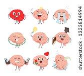 brain characters making sport... | Shutterstock . vector #1323814994