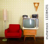 vintage room with wallpaper ... | Shutterstock . vector #132384251