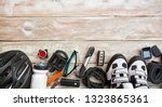 some bicycle accessories on the ... | Shutterstock . vector #1323865361