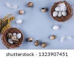 easter eggs in nest and spring... | Shutterstock . vector #1323907451