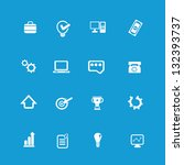 web icon set on blue background ...