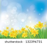 vector of daffodil flowers on... | Shutterstock .eps vector #132396731