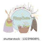 happy easter. vintage greeting... | Shutterstock .eps vector #1323980891