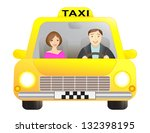 taxi car with driver and... | Shutterstock . vector #132398195