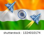 illustration of air strike with ... | Shutterstock .eps vector #1324010174